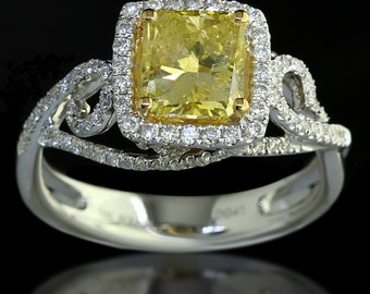 1.91 ct Radiant Cut Fancy Yellow Diamond Engagement Ring in 18K Gold - BAJ-65