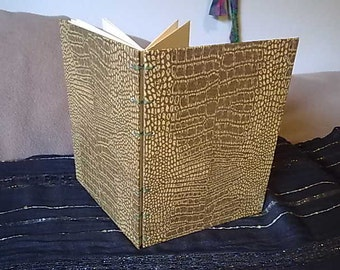 Coptic Stitch Journal - A5 - Sobek - Reptilian Textured Paper - Brown and Cream