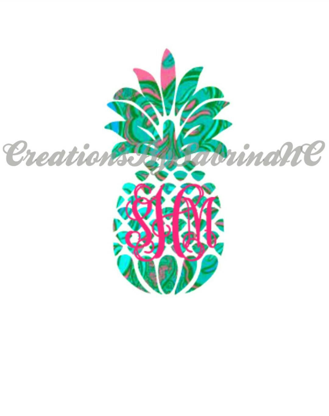 lilly pulitzer inspired pineapple decal with monogram