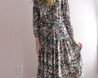 Womens Loose Boho Floral Floor Length Maxi Dress