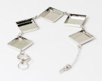 5pcs Bracelet Blanks, 16 x 16mm square bezel Silver bracelet blanks