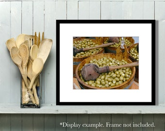 Food Photography, Black and White, Kitchen Art, Kitchen Decor, brown, Sage Green, Wall Art, Home Decor, Olives, Market
