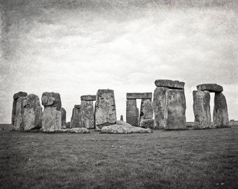 Stonehenge Photography, Black and White, Travel Photo, Fine Art Print, England, Europe, Mystical, landscape, green, Wall Art, Home Decor