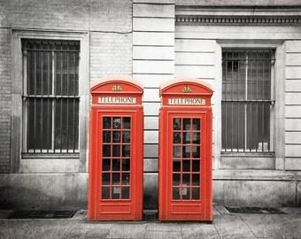 London Photography, Black and White, British Decor, Red, Phone Box, Fine Art Print, Phone Booth, Wall Art, Home Decor, London Decor