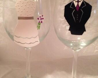 Hand Painted Wedding Wine Glasses 16oz