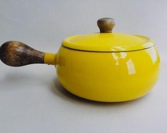 Colorful Mid-century Enamel Sauce Pan