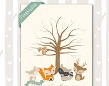 Sweet Woodland Baby Shower Thumbprint Tree | Forest Friends Baby Shower Guest Book | Woodland Baby Animals 8x10 and 11x14