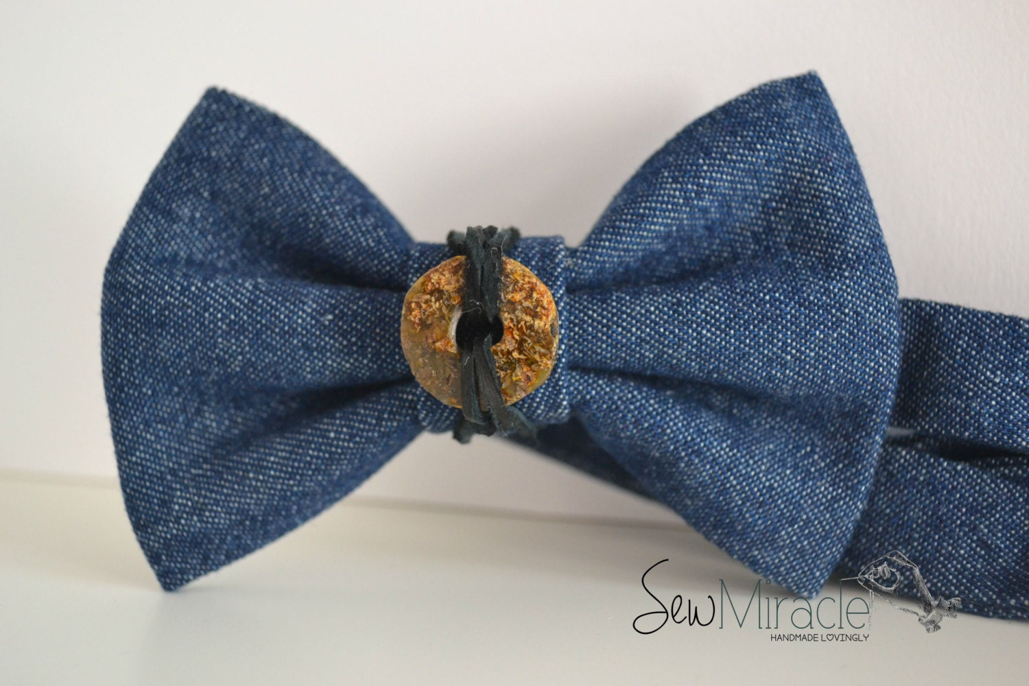 denim bow tie with baltic unpolished by sewmiracle