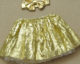 Baby Girls Gold Sequin and Ivory tutu skirt & Gold Headband - ONE Size 2-4Y - Ready to Ship!
