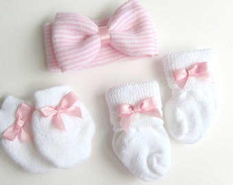 Baby Girl Headband First Bow Pink White baby headband Shabby Chic headband cute headband Newborn headband Newborn Photo shoot Prop