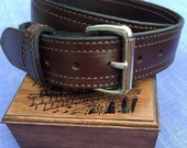 """Leather Dress and Concealed Carry Belts from Amish country 1.5 """" wide, Top Grain, 2- Ply Hand Stitched in BLACK or DARK BROWN"""