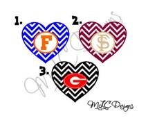 Chevron Heart Football Fan Decal, Florida Gators Decal, FSU Decal, Georgia Bulldog Decal