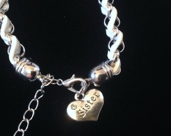 White Sister Bracelet, charm , leather, silver plated, rhinestone, heart , love, memories, gift