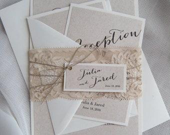 Rustic Wedding Invitation, Vintage Wedding Invitation, Lace Wedding Invitation, Burlap Wedding Invitation, Eco Invitation