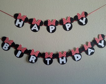 Minnie mouse happy birthday banner. Pink or Red Minnie mouse banner.  Free Shipping USA. Can be  Personalized with Name and age
