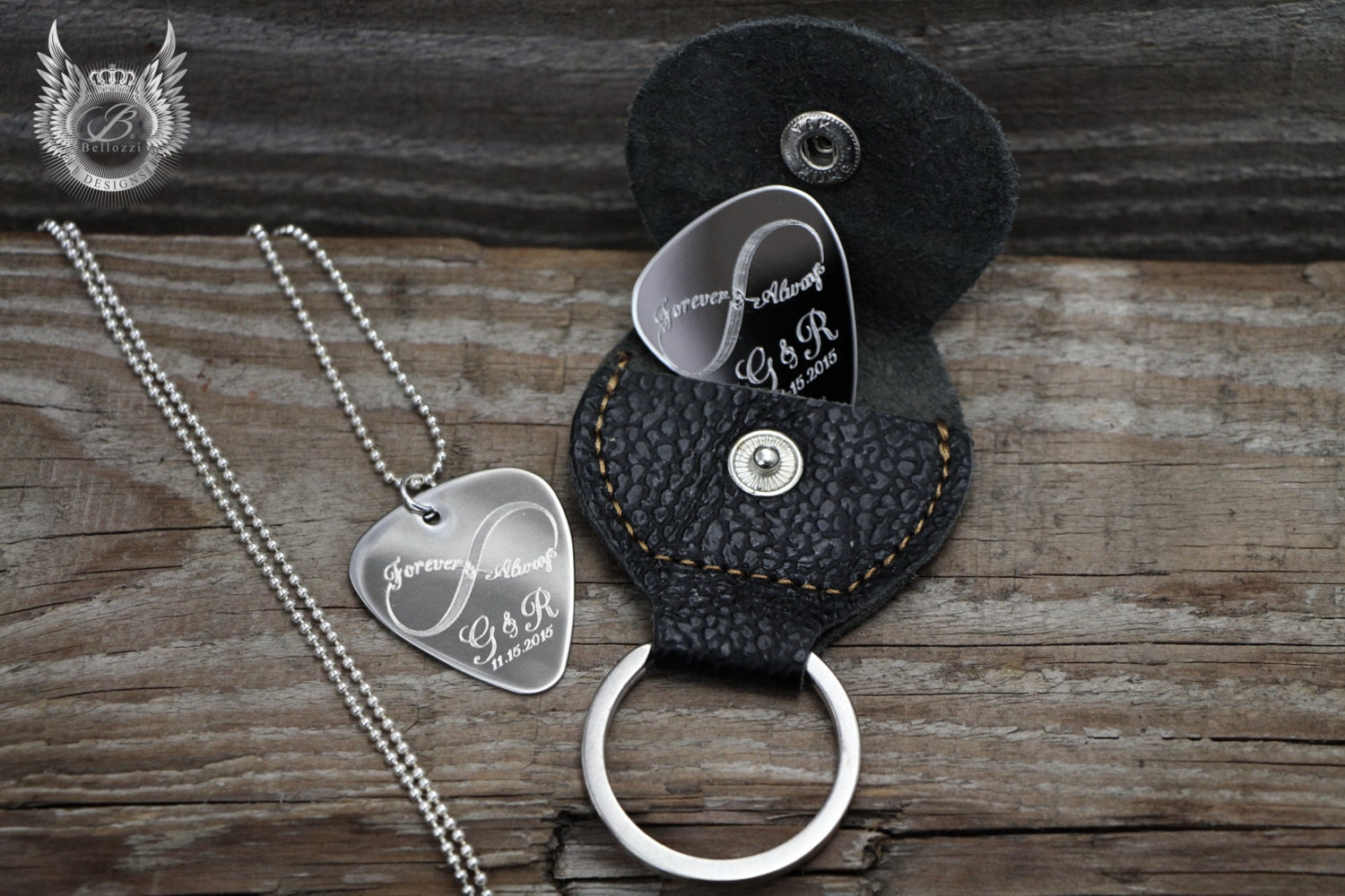sale personalized guitar pick necklace and by bellozzidesigns. Black Bedroom Furniture Sets. Home Design Ideas