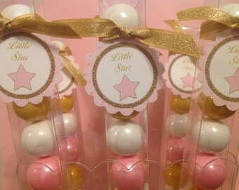 Pink and Gold Twinkle Little Star Baby Girl Shower - Party Favor Gumball Candy