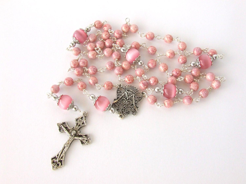Catholic Rosary Beads Light Pink Unbreakable Handmade Wire