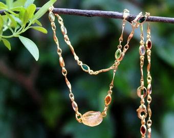 Citrine Multi Gemstone Necklace.10K Gold Chain.Statement.Bridal.Dainty.Valentine.Mother's.Pastel.Holiday.Birthday.Gift.Everyday.Handmade.