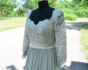 Silver lace bridesmaid dresses with Long sleeves a-line chiffon dress open back Grey/silver prom dress