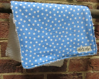 Handmade Burp Cloth with Light Blue/ Periwinkle Polka Dot Fabric/ White Chenille