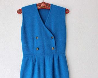 Vintage Electric Blue Overall Skirt Jumpsuit Sleeveless dress Medium Size
