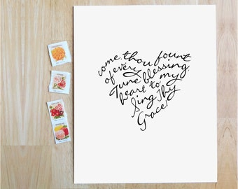 "Come, Thou Fount of Every Blessing  |  8x10"" Calligraphy Print, Heart Shape, Hymn Art Print, Wedding Decor, Wedding Gift, Anniversary Gift"