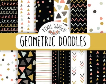 Geometric Doodles Digital Paper Pack. Hand Drawn Scrapbook Paper. Triangle, Polka Dot, Chevron, Confetti. Black & White Doodle Digital Paper