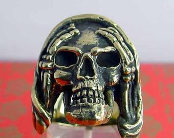 bronze ring  Biker SKULL Hear No Evil NEW (11)