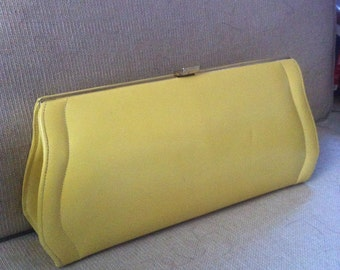 Lemon Yellow Convertible Clutch/ Vintage Buttery Yellow Purse/ Canary Yellow Curvy Clutch/