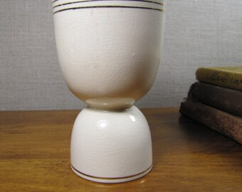 Vintage Egg Cup - Aqua Colored Band - Gold Accents