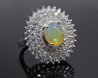 925 Sterling Silver Stylish Ring with Ethopian Opal & Cubic Zerconia Women 6,7,8,9 US all size available.