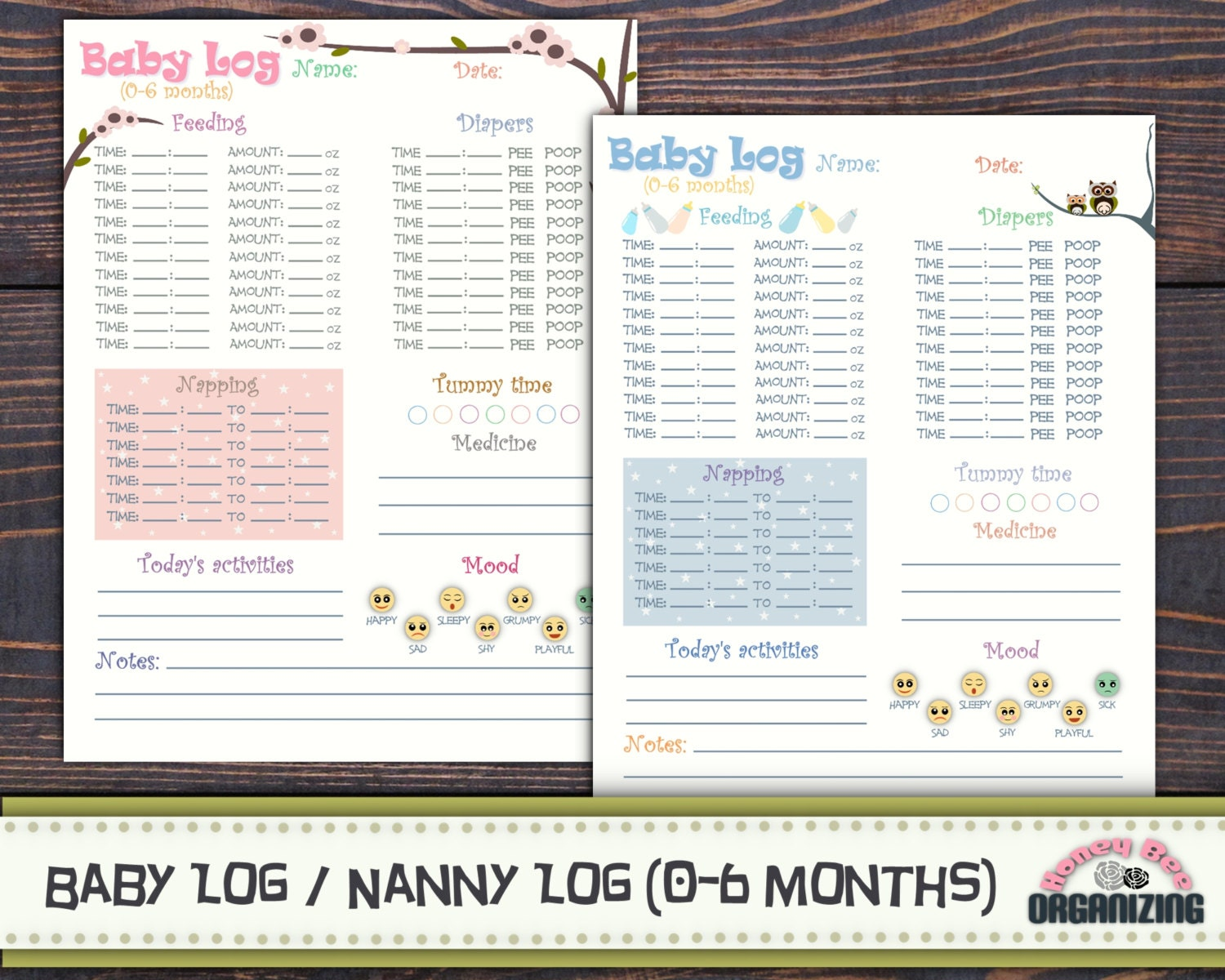 babysitter gift baby log 0 6 months nanny log baby s day schedule planner babycare log printable childcare log babysitter log infant care log