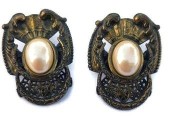 Bronze Earrings, Vintage Bronze Earrings, Brass Earrings, Steampunk Brass Earrings, Steampunk Bronze Earrings