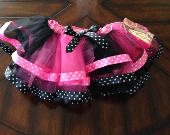 ForgottenDreamsKids Hot Pink and Black Polka Dot Tutu M 4/5