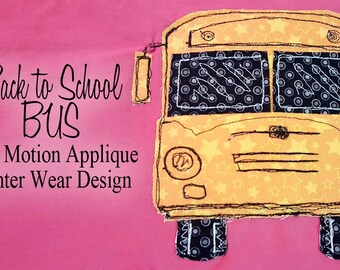 Back to School Bus Free Motion Applique PDF pattern design