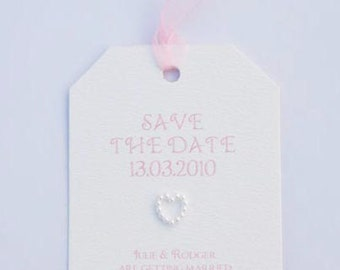 Pink & White Wedding Save The Date Tag Style
