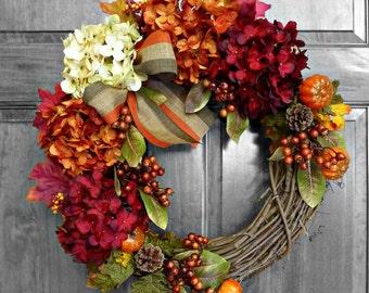 Fall Wreath, Door Wreath, Fall Decor, Autumn Wreath, Fall Decorations, Hydrangea Wreath, Wreaths for Fall, Outdoor Wreath