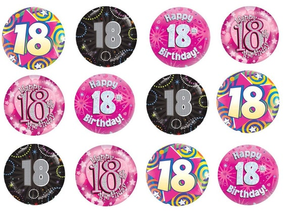 Edible Rice Paper Cupcake Toppers 18 18th Eighteenth