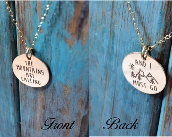 Still Available for Christmas Delivery! The Mountains Are Calling And I Must Go Necklace in Gold or Rose Gold Gift Adventurer  John Muir C