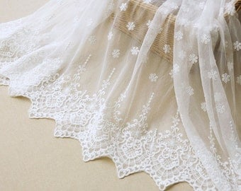 White Floral Lace Fabric Bilateral Embroidered Tulle Fabric Wedding Dress Bridal Fabric Veil Curtain Fabric 51'' Wide 1 Yard X098