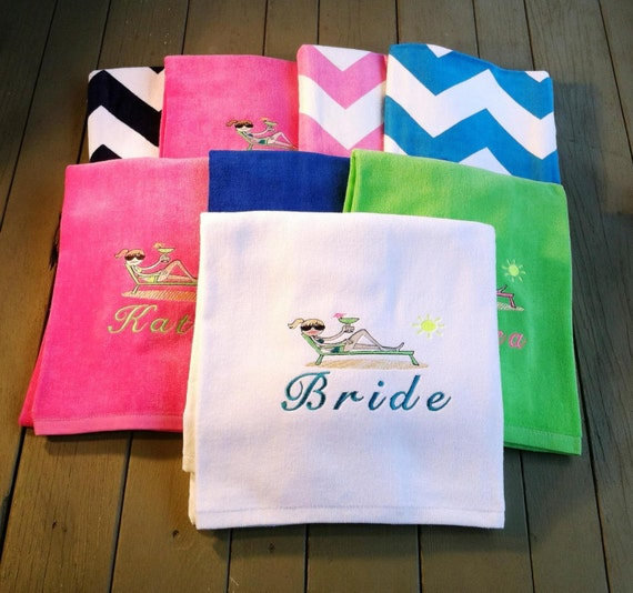 Personalized Chaise Lounge Towels: Set Of 8 Personalized Beach Towels With Name By