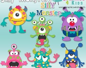 Silly Monsters Digital Clip art for scrapbooking, party invitations - Instant Download Clipart Commercial Use
