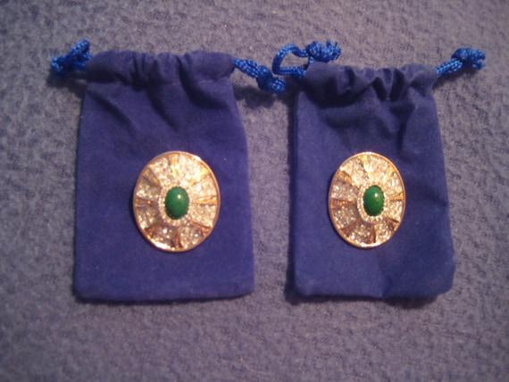 Stunning VTG Crystal Earrings with Jade Center