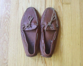 Vtg Mens brown moccasins, size 14 men shoes, Minnetonka moccasins, leather shoes free shipping