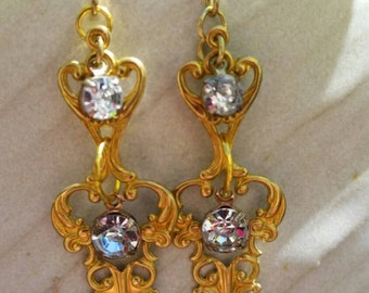 The Tilly earring/wedding/crystal/gala/raw brass/renaissance/victorian/antique/vintage