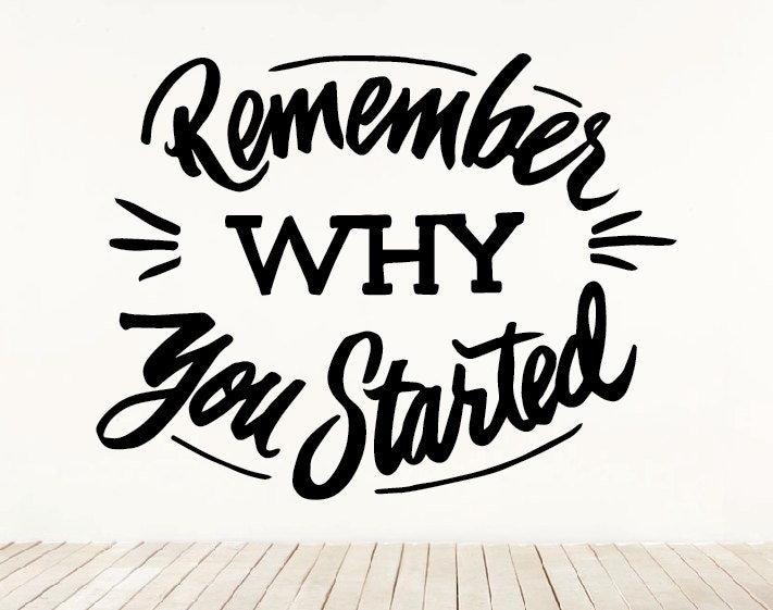 Remember Why You Started Lettering Calligraphy Wall Art Home
