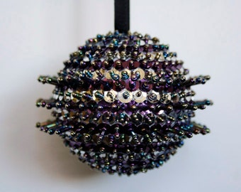 CLOSING DOWN SALE  Sequinned and Beaded Christmas Holiday Ornament In Purple and Silver, Christmas Tree Decoration