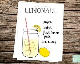 Printable Freshly Squeezed Lemonade Recipe Sign: Instant Download as an 8.5in X 11in, 8in X 10in, AND 5in X 7in