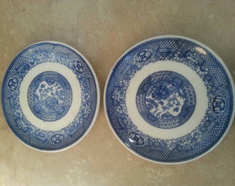 Set of 2 Small Blue & White Plates